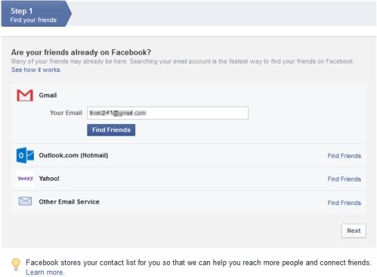 Facebook Sign-up