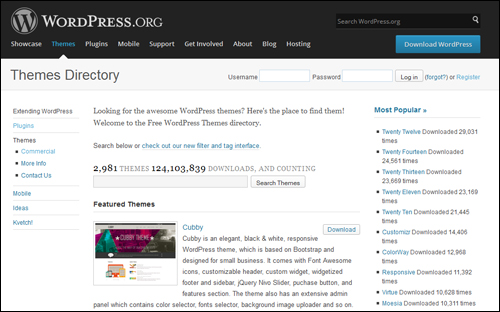 WordPress.org - WP Themes Repository