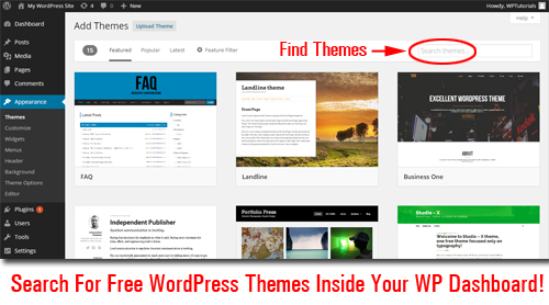 Look For Free WordPress Themes Without Leaving Your Own WP Dashboard!